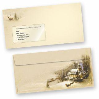 Winteridylle 50 Stück Weihnachts-Briefumschläge Din lang mit Fenster Umschläge für Weihnachten selbstklebend haftklebend