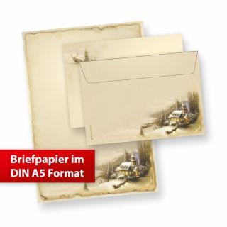 Briefpapier Winteridylle DIN A5 (10 Sets) Weihnachtsbriefpapier mit Umschläge, nostalgisch