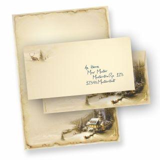 Briefpapier Winteridylle (10 Sets ohne Fenster) nostalgisch, Winter, Weihnachtsbriefpapier DIN A4 bedruckt