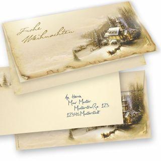 WINTERIDYLLE Weihnachtskarten 15er SET Klappkarten DIN lang mit Umschlag, Design by Tatmotive