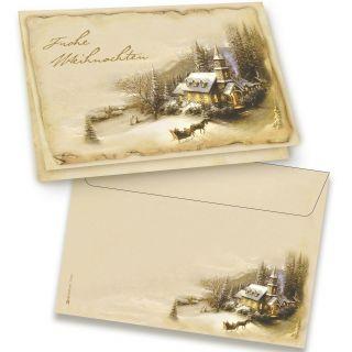 Nostalgie Weihnachtskarten Set Winteridylle 16 Sets DIN A6 mit Umschlag klimaneutral gedruckt
