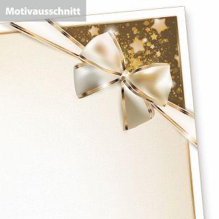 Briefpapier Weihnachten Geschenkschleife (50 Blatt) Weihnachtsbriefpapier auch perfekt für Speisekarten, Menükarten für Restaurant und Gasthaus