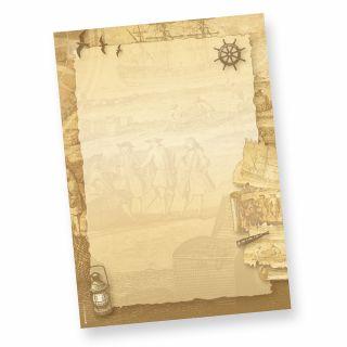 Briefpapier Piraten & Schatzkarte (50 Stück) beidseitig bedruckt A4 Schreibpapier mit Steuerrad, Anker, Schiff