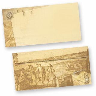 Briefumschläge Piraten & Seefahrer (50 Stück) beidseitig bedruckt DIN lang selbstklebend mit Steuerrad, Anker, Schiff