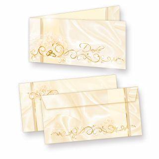 Danksagungskarten Hochzeit PERLMUTT (10 Sets) sehr elegante Dankeskarten für Hochzeit, inkl. Dreieckstaschen für Ihr Hochzeitsbild