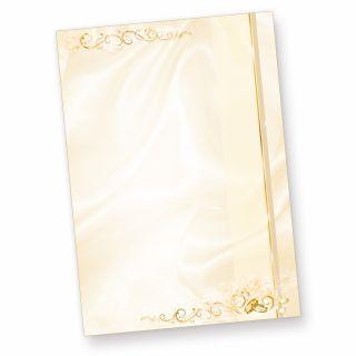 Briefpapier Hochzeit creme (50 Stück) beidseitig bedrucktes A4 Schreib-Papier, z.B. für Einladungen , Kirchen-Hefte, Hochzeits-Zeitung