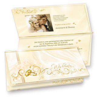 Einladungskarten Hochzeit PERLMUTT (10 Sets) selbst bedruckbar, Einladungskarten Set - 10 Karten + 10 Umschläge