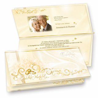 Einladung Goldene Hochzeit (10 Sets) hinreissend - fein abgestimmte Einladungskarten. Set mit 10 Karten, 10 Umschläge, 10 Einlegeblätter zum Selbstbedrucken + Goldbändchen - sehr elegant!