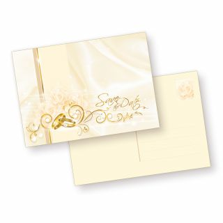 Postkarten Hochzeit Perlmutt - Safe the Date (10 Stück) zur Vorankündigung für die Hochzeit