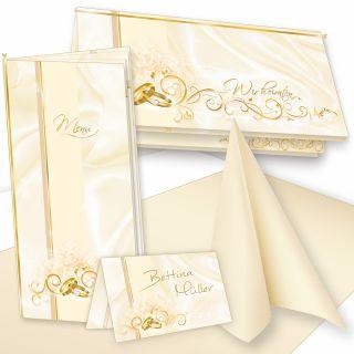 Einladung+Tischdeko Set Hochzeit (16 Gäste) Komplett-Set creme für Hochzeit - fein abgstimmt mit Einladungskarten, Menükarten, Tischkarten, Kerzen, Servietten etc.