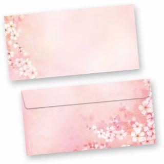 Briefumschläge Frühling Kirschblüten (50 Stück) beidseitig bunt bedruckte DIN lang Umschläge