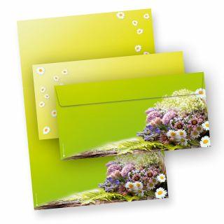 Motivpapier Frühling grün (25 Sets inkl. Kuverts) Briefpapier Set mit wunderschön bedrucktem A4 Schreibpapier