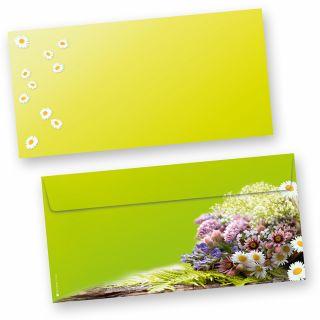 Briefumschläge Frühling grün (50 Stück) beidseitig bedrucktes DIN lang Kuverts, mit frischen Frühlingsblumen