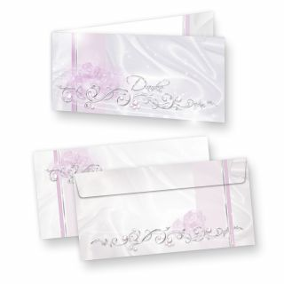 Danksagungskarten DE LUXE (10 Sets) sehr elegante Dankeskarten nach Feier, Geburtstag oder Hochzeit, inkl. Dreieckstaschen für Ihr Hochzeitsbild