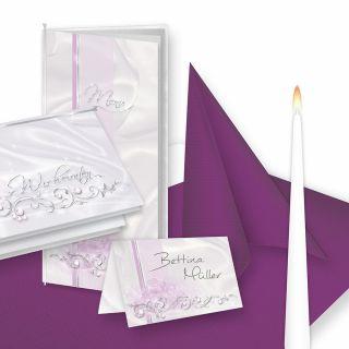 Einladung+Tischdeko Set DE LUXE (16 Gäste) Komplett-Set Silber Lila für Hochzeit - fein abgstimmt mit Einladungskarten, Menükarten, Tischkarten, Kerzen, Servietten etc.