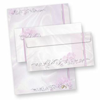 Briefpapier Hochzeit silbergrau (25 Sets inkl. Kuverts) beidseitig bedrucktes A4 Schreibpapier inkl. Kuverts, mit Eheringen und Ranken für hinreissend schöne Hochzeitspost, vielseitig verwendbar