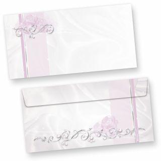 Briefumschläge festlich silbergrau (50 Stück) Elegante DIN lang Kuverts, für Einladungen Hochzeit