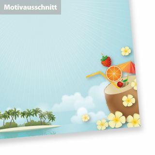 Briefpapier Strand + Palmen (50 Blatt) A4 beidseitig, mit Sommer Feeling z.B. für Beach Party