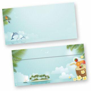 Briefumschläge Beach-Party (50 Stück) beidseitig bunt bedruckte DIN lang Umschläge