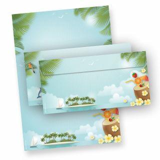 Briefpapier Set Beach-Party (25 Sets) DIN A4, 90 g/qm 25 Briefbogen und 25 Briefumschläge