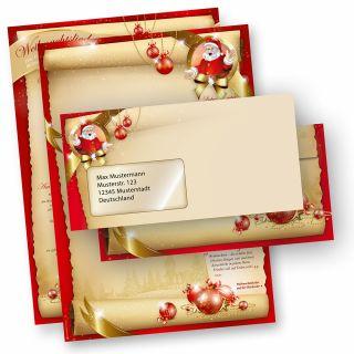 Weihnachtsbriefpapier Set SANTA CLAUS beidseitig (10 Sets mit Fenster) mit Gedichten, Infos und Weihnachtsliedern auf der Rückseite