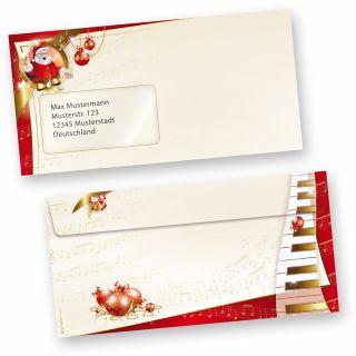 Weihnachtsumschläge Musik (50 Stück mit Fenster) wunderschöne Umschläge mit musikalischem Weihnachtsmann und Noten (auch passendes Briefpapier erhältlich)
