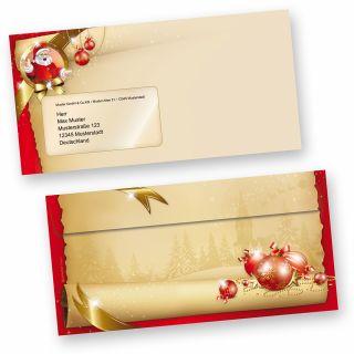 Weihnachtsumschläge Santa Claus (50 Stück mit Fenster) Briefumschläge Weihnachten Din lang mit Fenster Umschläge für Weihnachten selbstklebend haftklebend