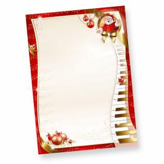 Weihnachtsbriefpapier Musik (50 Blatt) wunderschönes Briefpapier Weihnachten DIN A4 mit musikalischem Weihnachtsmann, selbst bedruckbar