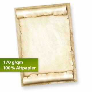 Briefpapier Urkundenpapier blanko (10 Blatt) 170 g/qm A4 Pergamentrolle als Briefe, Zertifikate und Urkunde, für Firma Geburtstag, Hochzeit, Verein uvm.