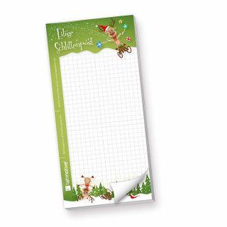 Schreibblock Eilige Schlittenpost (4 Stück) witzige Notizblöcke grün für Weihnachten