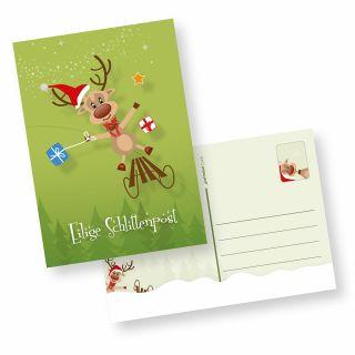 """Postkarten Weihnachten Rentiere (10 Stück) Weihnachtspostkarten """"Eilige Schlittenpost"""