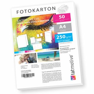 TATMOTIVE F01M50 Fotokarton Fotopapier 250g matt weiß / Laserdrucker / DIN A4 / Beidseitig bedruckbar / 50 Blatt