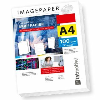 TATMOTIVE Imagepaper 100g/qm A4, das stärkere Briefpapier, brillante Drucke für alle Drucker, 250 Blatt - weiß Kopierpapier