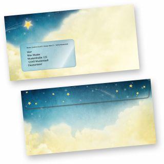 Umschläge Weihnachtsgeschichte (50 Stück mit Fenster) wunderschöne Kuverts mit Sternen und Wolken (auch passendes Briefpapier erhältlich)