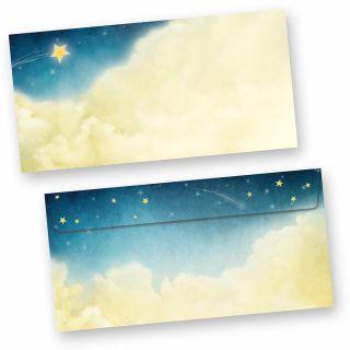 Briefumschläge Weihnachtsgeschichte (50 Stück ohne Fenster) wunderschöne Kuverts mit Sternen und Wolken (auch passendes Briefpapier erhältlich)