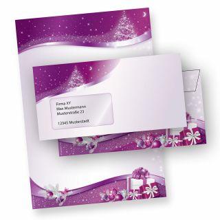 Weihnachtspapier lila Sternenzauber (10 Sets mit Fenster) DIN A4, 90 g/qm, Weihnachtsbriefpapier mit Umschläge