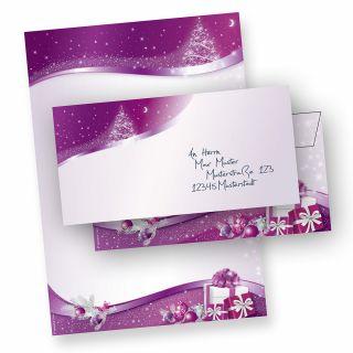 Weihnachtsbriefpapier Set lila Sternenzauber (10 Sets ohne Fenster) DIN A4, 90 g/qm, Weihnachtsbriefpapier mit Umschläge