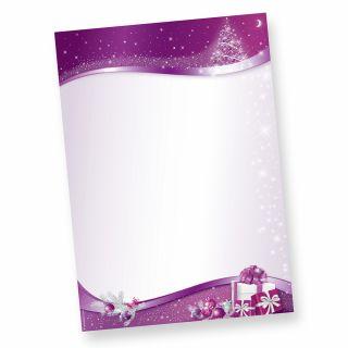 Briefpapier lila Sternenzauber (50 Blatt) zauberhaftes Weihnachtsbriefpapier mit funkelnden Sternen