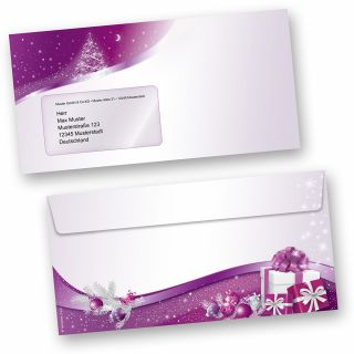 Lila Sternenzauber 50 Stück Weihnachts-Briefumschläge Din lang mit Fenster Umschläge für Weihnachten selbstklebend haftklebend