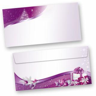 Lila Sternenzauber 50 Stück Weihnachts-Briefumschläge Din lang ohne Fenster Umschläge für Weihnachten selbstklebend haftklebend