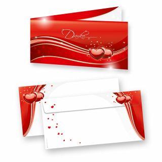 Danksagungskarten Hochzeit Rot Liebe (10 Sets) sehr elegante Dankeskarten für Hochzeit, inkl. Dreieckstaschen für Ihr Hochzeitsbild