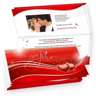 Schöne Einladung Hochzeit Liebe (10 Sets) Einladungskarten Set Rot