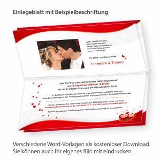 Blätter für Einladung Liebe (10 Blatt) nur Einlegeblätter zum Nachbestellen