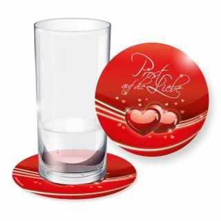 Bierdeckel Liebe (32 Stück) Rot mit Herzen, Untersetzer für Feier, Geburtstag, Hochzeit