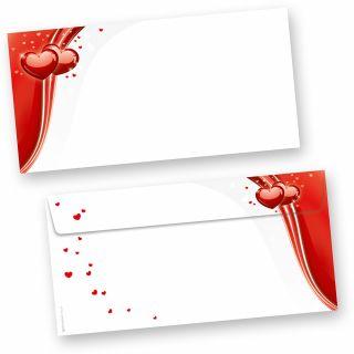Briefumschläge rote Liebe (50 Stück) beidseitig bedrucktes DIN lang Kuverts, mit roten Herzen für hinreissend schöne Post