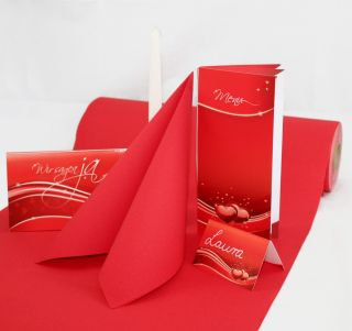 Einladung+Tischdeko Set Hochzeit Liebe (16 Gäste) Komplett-Set Rot für Hochzeit - fein abgstimmt mit Einladungskarten, Menükarten, Tischkarten, Kerzen, Servietten etc.