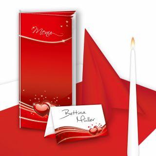 Tischdeko Set Hochzeit Liebe (16 Gäste) Komplett-Set Rot für Hochzeit - fein abgstimmt mit Menükarten, Tischkarten, Kerzen, Tischläufer, Servietten etc.
