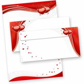 Briefpapier rote Liebe (25 Sets inkl. Kuverts) einseitig bedrucktes A4 Schreibpapier inkl. Kuverts, mit roten Herzen für hinreissend schöne Liebesbriefe oder Hochzeitspost