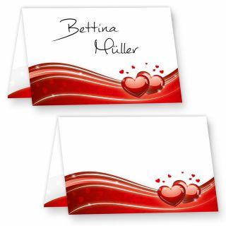 Tischkarten Hochzeit Liebe (20 Stück) hinreissend schöne Platzkarten mit roten Herzen