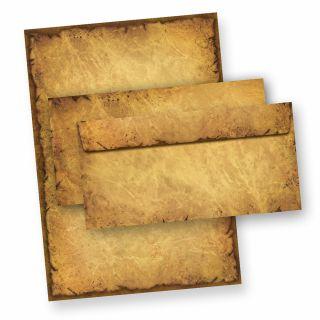 CASANOVA Altes Papier Set (25 Sets) A4, 90 g/qm, Historische Briefpapiermappe, 25 Briefpapier + 25 Umschläge
